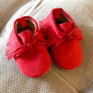 Old Navy Red Suede Moccasins